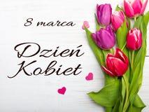 O cartão do dia do ` s das mulheres com polonês exprime DZIEŃ KOBIET Imagem de Stock Royalty Free