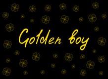 O cartão do dia do ` s de St Patrick com o trevo da proposta do ouro sae e texto no fundo preto Inscrição - menino dourado Imagem de Stock Royalty Free