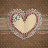 O cartão do laço do vintage do dia do `s do Valentim com ouve-se Foto de Stock