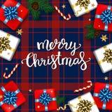 O cartão do Natal com caixas de presentes ajustou-se com Br da curva e do abeto Imagem de Stock Royalty Free