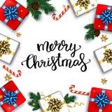 O cartão do Natal com caixas de presentes ajustou-se com Br da curva e do abeto Foto de Stock Royalty Free