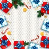 O cartão do Natal com caixas de presentes ajustou-se com curva … Cerveja nova feliz! Imagens de Stock