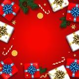 O cartão do Natal do vintage com caixas de presentes ajustou-se com curva H Imagens de Stock Royalty Free