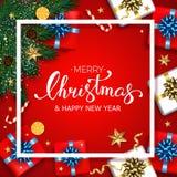 O cartão do Natal do vintage com caixas de presentes ajustou-se com curva H Fotografia de Stock
