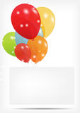 O cartão do presente com balões vector a ilustração Imagens de Stock