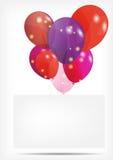 O cartão do presente com balões vector a ilustração Fotografia de Stock