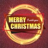 2018, o cartão do vermelho e do ouro com Feliz Natal text e quadro do brilho do ouro Fundo efervescente do feriado, poeira do vet ilustração stock