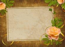 O cartão do vintage do papel velho e levantou-se Fotos de Stock