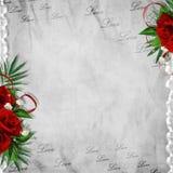 O cartão do vintage para o feriado com vermelho levantou-se Fotografia de Stock Royalty Free