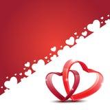 O cartão feliz bonito do amor do dia de Valentim com vermelho ouve-se Fotografia de Stock Royalty Free