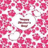 O cartão feliz do dia de mãe com sakura cor-de-rosa floresce Imagem de Stock Royalty Free