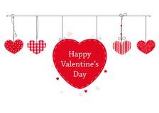 O cartão feliz do dia de Valentim com corações de suspensão dos Valentim do amor vector o fundo Vetor feliz do texto do dia do `  Foto de Stock
