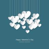 O cartão feliz do dia de Valentim com papel branco do coração cortou s Foto de Stock Royalty Free