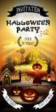 O cartão livre do convite da entrada de Dia das Bruxas para o horror party o 31 de outubro Fotos de Stock Royalty Free