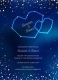 O cartão na moda do convite do casamento do céu noturno, salvar a data Celestial Template com lua, estrelas, galáxia, espaço ilustração stock