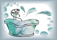 O cartão pintou o banho antigo com misturador do assoalho, no vetor com w Imagem de Stock Royalty Free