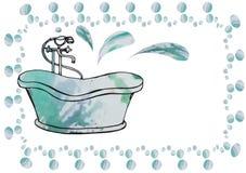 O cartão pintou o banho antigo com o misturador do assoalho, tirado descuidadamente Imagem de Stock