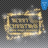 2018, o cartão preto e amarelo com Feliz Natal text e o quadro do brilho do ouro no fundo quadriculado ilustração royalty free