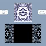 O cartão quadrado a céu aberto de papel, convite do casamento, molde para cortar, ata a imitação, corte no plotador, corte b da p Fotos de Stock
