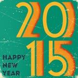 O cartão retro com reticulação imprimiu o sinal 2015 sobre Imagem de Stock