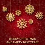 O cartão vermelho azul de ano novo com Natal-árvore dourada brinca Fotos de Stock