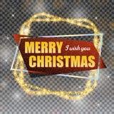 2018, o cartão vermelho e amarelo com Feliz Natal text e o quadro do brilho do ouro no fundo quadriculado ilustração royalty free
