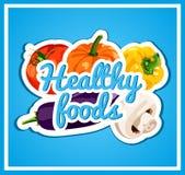 O cartaz à moda com um grupo de vegetais do vetor Alimentos saudáveis Alimento fresco e saudável Dieta brilhante Fotografia de Stock Royalty Free
