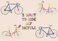O cartaz bonito com bicicletas e competência da cidade bikes Ilustração Stock