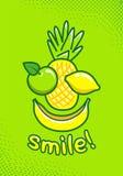 O cartaz bonito com fruto e uma inscrição sorriem imagens de stock