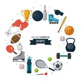 O cartaz branco do fundo do estilo de vida saudável ostenta com elementos dos esportes ao redor do título ilustração do vetor