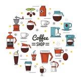 O cartaz colorido da cafetaria com diversos ícones relacionou-se ao café ilustração do vetor