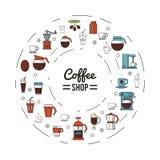 O cartaz colorido da cafetaria com diversos ícones relacionou-se ao café na forma do círculo ilustração do vetor