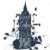 O cartaz com frase tipográfica mantém a calma e ama Londres Cartão da arte do projeto do vetor com slogan criativo Cartão retro m Fotos de Stock Royalty Free