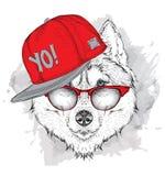 O cartaz com o retrato ronco da imagem no chapéu do hip-hop Ilustração do vetor ilustração stock