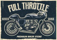 O cartaz da motocicleta do vintage, textura é fácil de remover ilustração do vetor