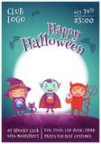 O cartaz de Dia das Bruxas com as crianças nos trajes da bruxa, o vampiro e o diabo para Dia das Bruxas feliz party Na obscuridad ilustração royalty free