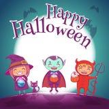 O cartaz de Dia das Bruxas com as crianças nos trajes da bruxa, o vampiro e o diabo para Dia das Bruxas feliz party Na obscuridad Ilustração Stock