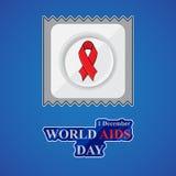 O cartaz do Dia Mundial do Sida com preservativo, vermelho ajuda à fita da conscientização Imagens de Stock