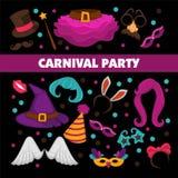 O cartaz relativo à promoção do carnaval feliz com elementos brilhantes do traje isolou ilustrações lisas do vetor dos desenhos a ilustração stock