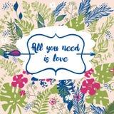 O cartaz tirado mão com texto todo que você precisa é amor Fotos de Stock Royalty Free