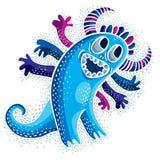 O caráter cômico, vector o monstro azul estrangeiro de sorriso engraçado Emotio Imagens de Stock Royalty Free