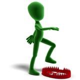 o caráter masculino de Toon do ícone 3d está batendo na armadilha Imagem de Stock Royalty Free