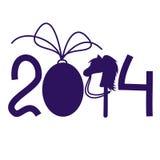 O cartão de ano novo e de Natal com 2014 estilizou números Imagens de Stock Royalty Free