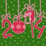O cartão de ano novo e de Natal com 2014 estilizou números Foto de Stock