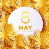 O cartão floral da folha dourada - o dia de mãe feliz - fundo do feriado dos sparkles do ouro com papel cortou flores do quadro Imagens de Stock