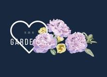 O cartão luxuoso com vintage floresce com coração e fundo escuro Fotos de Stock Royalty Free