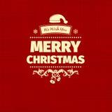 O cartão na moda do Feliz Natal do estilo liso retro do vintage e o ano novo desejam o cumprimento Foto de Stock