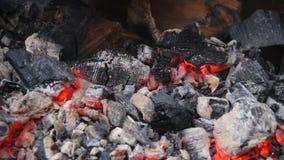 O carvão vegetal encarnado que incandesce lentamente no soldador grande do assado, fogo do incêndio permanece filme