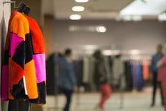 O casaco de pele colorido no couro e a pele compram Imagem de Stock