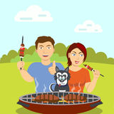 O casal com o cão perto do assado ilustração stock